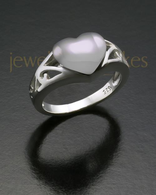 Ladies White Gold Filigree Heart Cremation Ring
