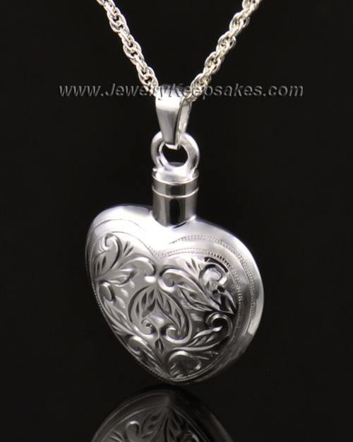 Memorial Locket Etched Heart 14k White Gold