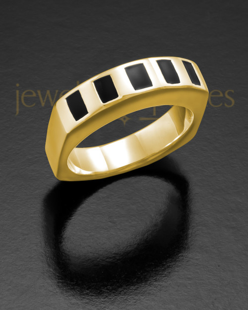 Men's 14K Gold Efficient Cremation Ring