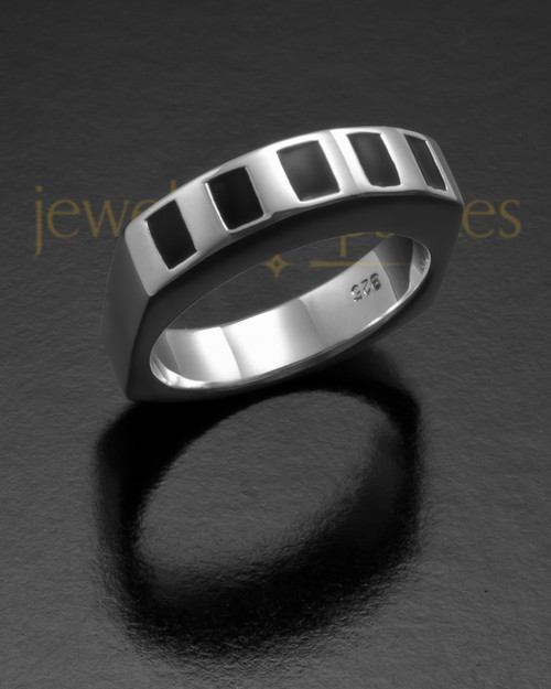 Men's 14k White Gold Efficient Cremation Ring