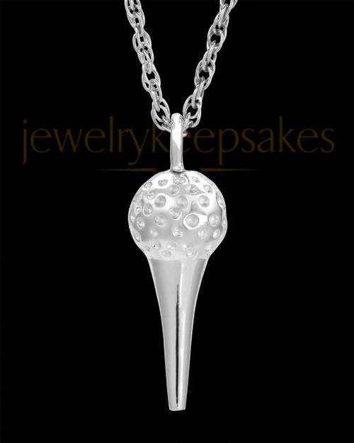 Golf Tee White Gold Urn Jewelry