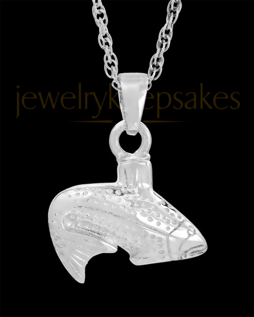 Circling Fish in White Gold Cremation Jewelry