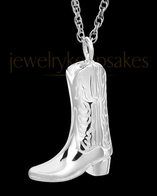Boot White Gold Ash Pendant