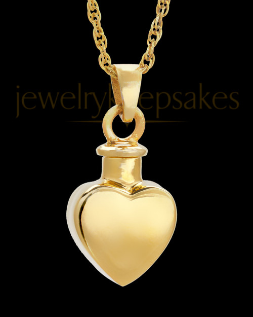 Small 14 Karat Gold Heart Urn Pendant