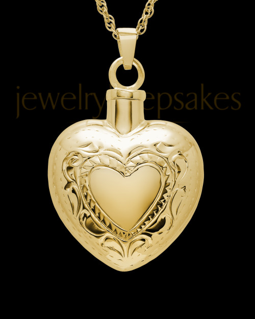 Cremation Remains Jewelry Etched Double 14k Gold Heart
