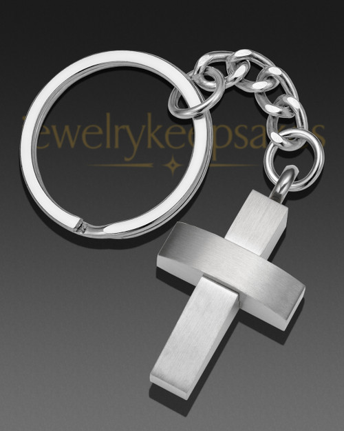 Modern Cross Cremation Keychain