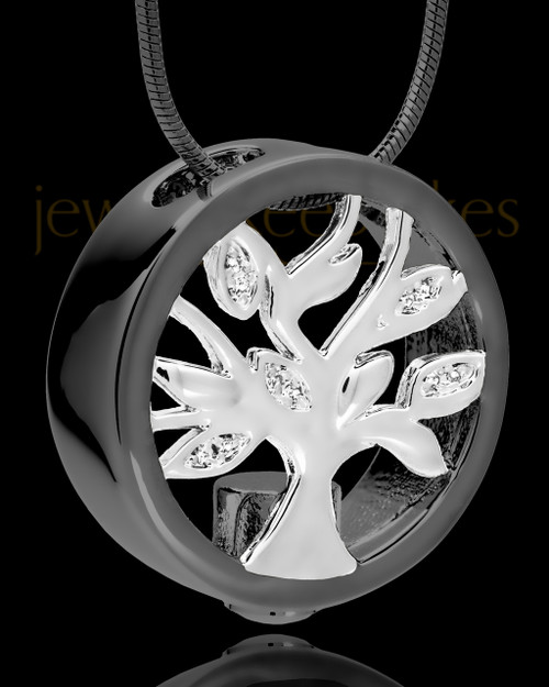 Black and Silver Tree of Life Cremation Pendant