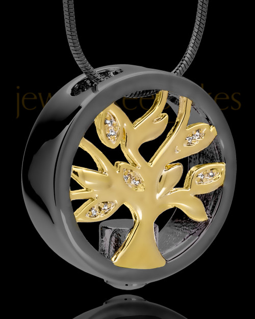 Black and Gold Tree of Life Cremation Pendant