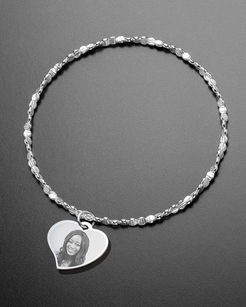 Luxury Curved Heart Photo Engraved Bracelet