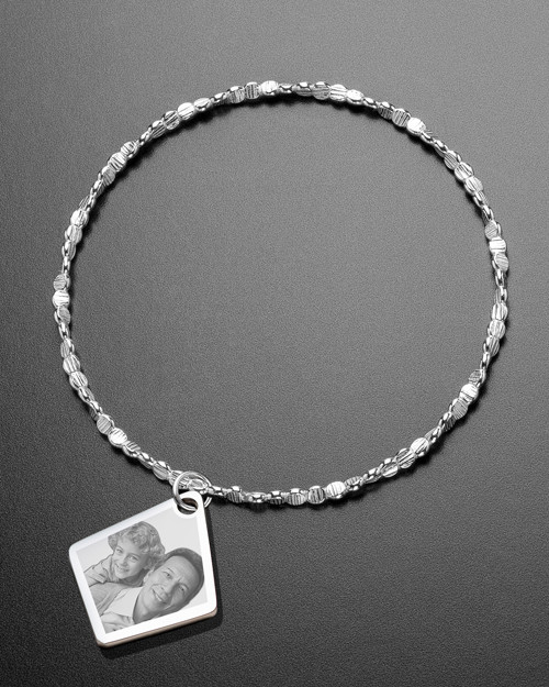 Luxury Elongated Diamond Photo Engraved Bracelet
