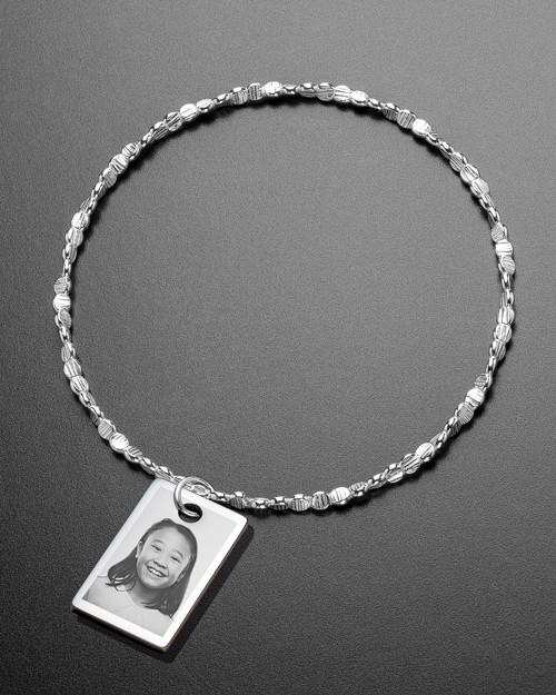 Luxury Small Rectangle Photo Engraved Bracelet