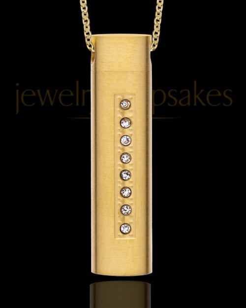 Gold Men's Endure Cylinder Cremation Pendant