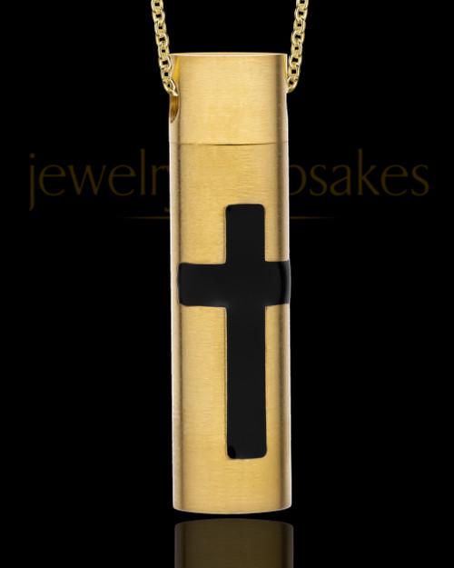 Men's Spirited Gold Plated Cylinder Urn Pendant