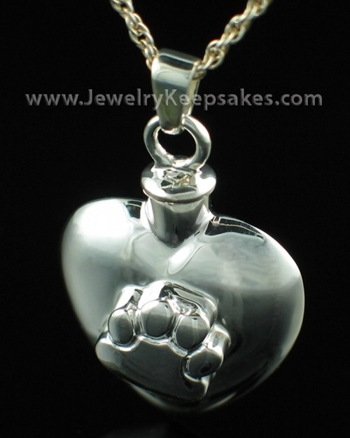 Cremation Pet Keepsake Heart with Paw - Sterling Silver