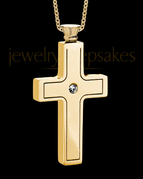Gold Men's Truthful Cross Urn Jewelry