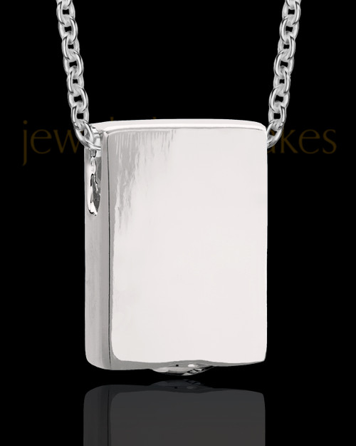 Sterling Men's Natural Rectangle Cremation Jewelry