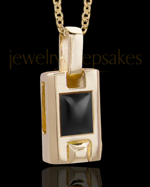 Gold Plated Men's Noble Cylinder Memorial Jewelry