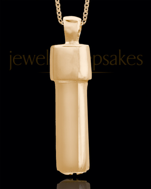 Gold Plated Men's Vigilant Cylinder Jewelry Urn