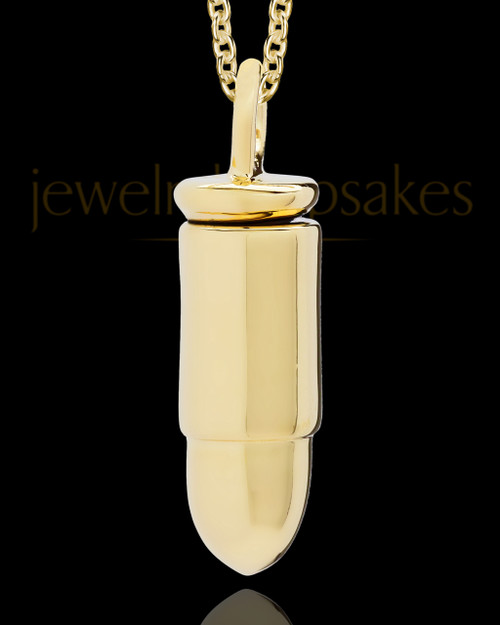 Men's Cremation Gold Plated Bullet Memorial Jewelry