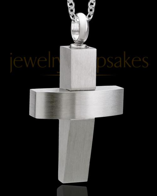 Men's Steel Modern Cross Cremation Pendant