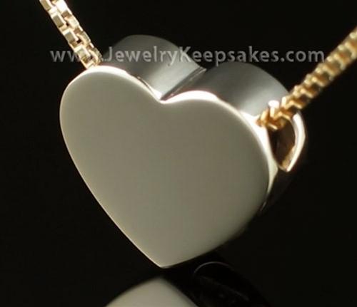 Memorial Urn Pendant 14K Gold Sliding Heart
