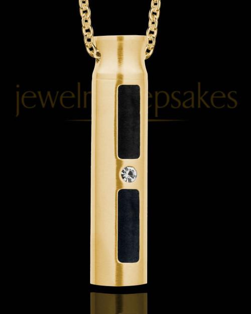 Men's Gold Plated Soulful Cylinder Urn Pendant