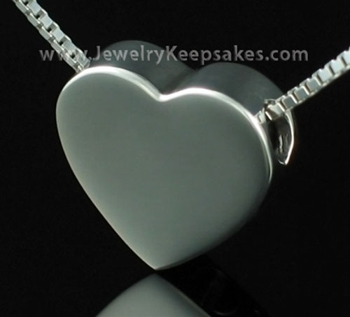 Memorial Urn Pendant Sterling Silver Sliding Heart