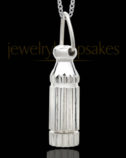 Men's Grand Silver Plated Cylinder Keepsake Pendant