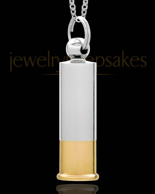 Men's Shotgun Shell Silver Plated Urn Pendant