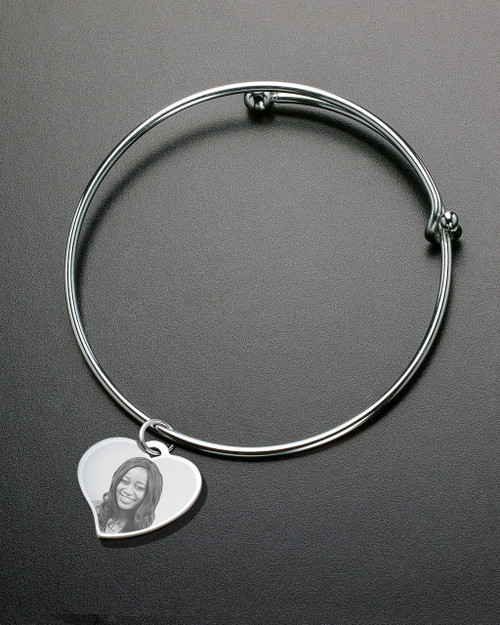Sophisticate Curved Heart Photo Engraved Bracelet