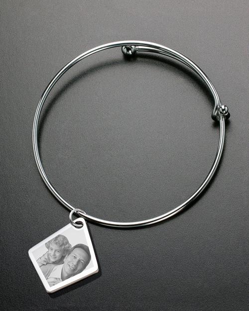 Sophisticate Elongated Diamond Photo Engraved Bracelet