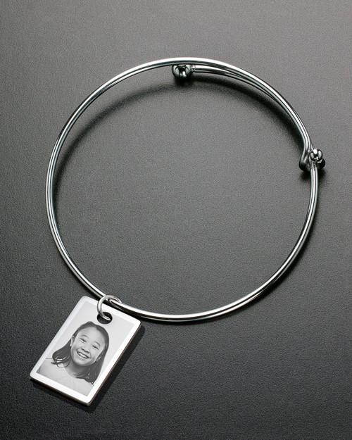 Sophisticate Small Rectangle Photo Engraved Bracelet