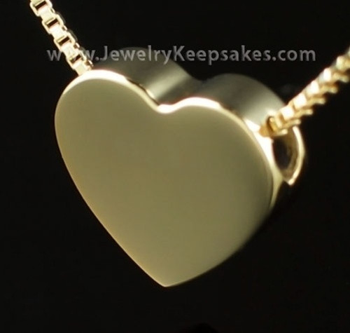 Ashes Pendant Gold Plated Sliding Heart