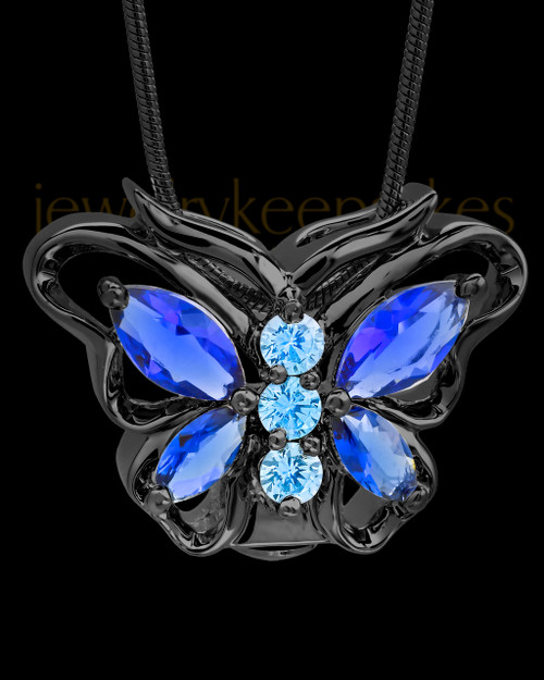 Black Bejeweled Butterfly Cremation Pendant