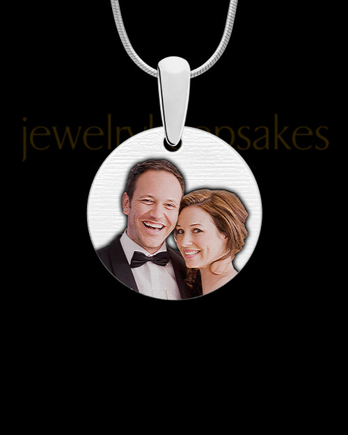 Round Full Color Photo Engraved Pendant Stainless Steel