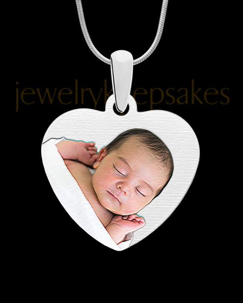 Full Color Stainless Memories Heart-Shaped Photo Engraved Pendant
