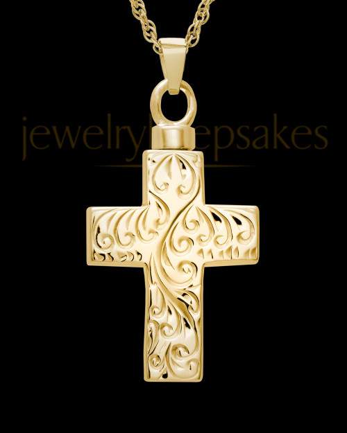 Memorial Pendant Urn Etched Cross - Gold Plated-Large