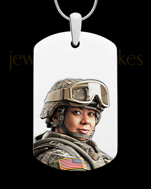 Photo Engraved Full Color Stainless Steel Dog Tag Pendant