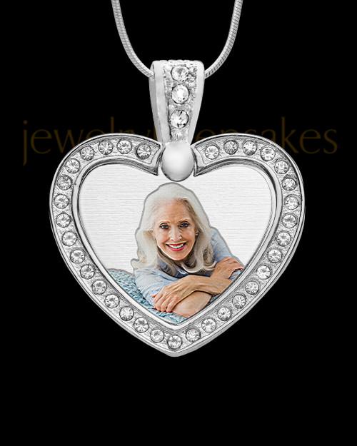 Photo Engraved Gem Heart Full Color Pendant Stainless Steel