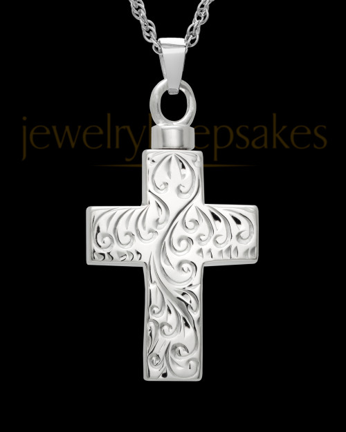 Memorial Pendant Etched Cross - Sterling Silver-Large