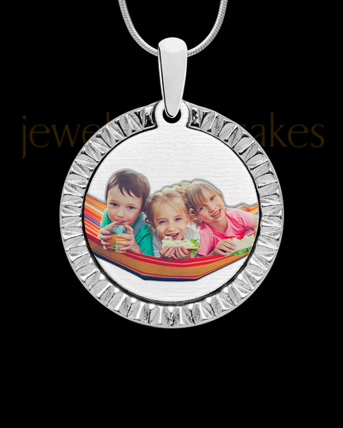 Stainless Steel Etched Circle Full Color Photo Engraved Pendant