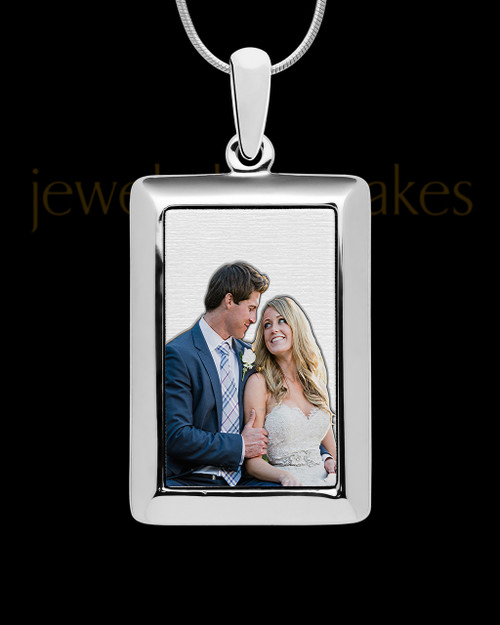 Silver Full Color Framed Rectangle Photo Engraved Pendant