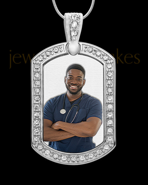 Full Color Gem Rectangle Silver Photo Engraved Pendant