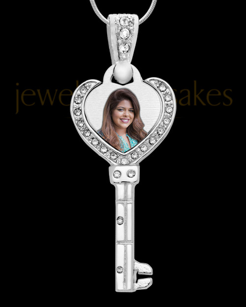 Full Color Key To My Heart Photo Engraved Pendant