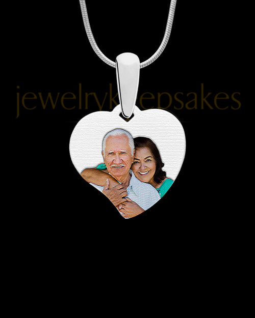 Curved Heart Full Color Photo Engraved Pendant