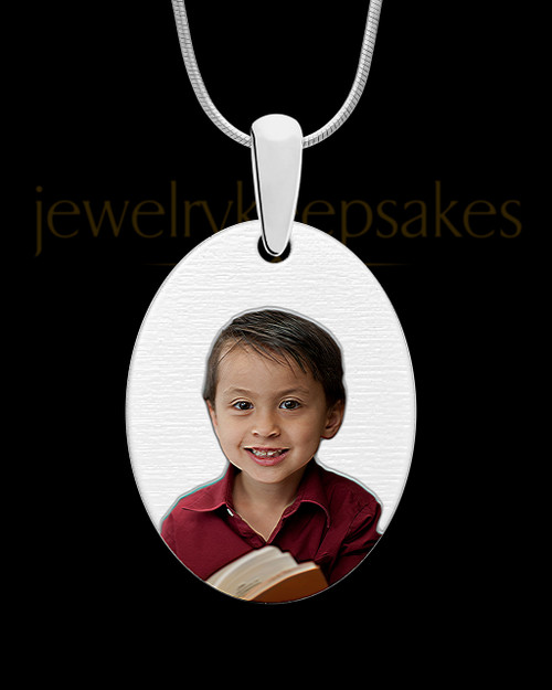 Full Color Large Oval Photo Engraved Pendant