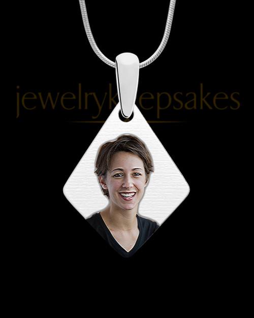 Full Color Elongated Diamond Photo Engraved Pendant