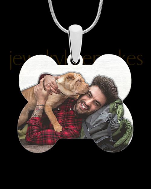 Full Color Doggie Bone Photo Engraved Pendant