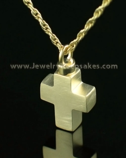 Cremation Charm 14K Gold Mini Cross