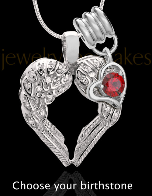 Winged Memories Sterling Silver Heart With Birthstone Cremation Pendant